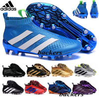 Wholesale Cheap Black Football Cleats - Originals Adidas ACE 16+ PureControl FG 16 Pure Control Men's Soccer Shoes Boots Cheap Original 2016 UEFA Euro Cleats Football Sneakers