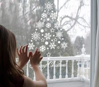 Wholesale wedding wall decals resale online - Christmas Sticker Snowflake Window Stickers for Glass Shopwindow Christmas Decals Gifts Festivals Decor for Party Wedding Home Decoration