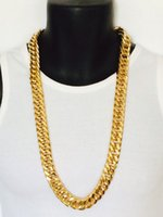 Wholesale Curb Chain Links - Epacket FREE SHIPPING Mens Miami Cuban Link Curb Chain 24k Real Yellow Solid Gold GF Necklace Hip Hop 11MM Thick Chain JayZ