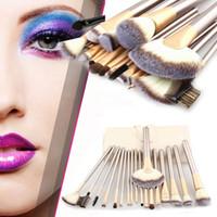 Wholesale Leather Tools Kit - Professional 24pcs Makeup Brushes Set Cosmetic Make Up Tools Set Fan Foundation Powder Brush Eyeliner Brushes With Leather Case