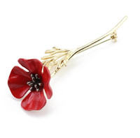 kırmızı haşhaş broş toptan satış-Moda Kırmızı Haşhaş Çiçek Broş Vintage Yaka Iğneler Erkekler Takı Broşlar Iğneler Yaka Çiceği Erkekler Suit Aksesuarları