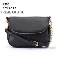 Wholesale One Shoulder Tote - Women fashion bag famous brand MICHAEL KALLY MK handbag PU leahter chain bag clutch lady message tote bags one shoulder handbags purse 1351