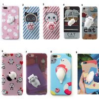 Wholesale Plus For Cats - Lovely 3D Soft Squishy Toys Cat Panda Seal Polar Bear Rabbit Cartoon Silicone Paste on Cellphone Case for iPhone 7 6s 6 Plus