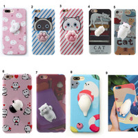 case bears - Lovely D Soft Squishy Toys Cat Panda Seal Polar Bear Rabbit Cartoon Silicone Paste on Cellphone Case for iPhone s Plus
