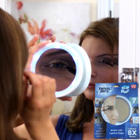 Wholesale Light Brite - Portable 8X Magnifier Makeup Mirror Swivel brite Compact Mirrors LED Lighted Edge 360 Pivoting Action Makeup tools DHL