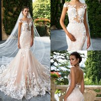 Wholesale Open Back Mermaid Dress White - Milla Nova Mermaid Wedding Dresses 2017 Sheer Neck Lace Appliques Illusion Bodice Open Back Real Images Bridal Gowns Vestios De Novia Custom