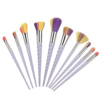 Wholesale Cheapest Makeup Brush Set - Cheapest Rainbrow Makeup Brushes Set 10pcs set Spiral Shell Colorful Brush Professional Powder Tool Thread Cosmetic Brush Kit 3 colors UPS