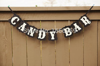 Vente en gros - Livraison gratuite 1 X Handmade Black CANDY BAR Wedding Bunting Banner Photo Booth Props Party Garland Decoration Prop