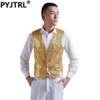 Wholesale Man Suit Rose - Wholesale- Mens Wedding Stage Show Shiny Sequins Waistcoat Blue Black Silver Pink Rose Yellow Suit Vest Gilet Homme Dress Classic Vests