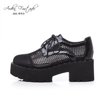Women block heel court shoes - 2017 summer shoes for women genuine leather lace up block heel Brogue shoes platform med heel breathable woman chunky heels girls students