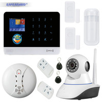 Wholesale Wireless Camera Infrared Detector - Best G6 App control sms call GSM alarm system with door window sensor open reminder infrared pir detector IP camera
