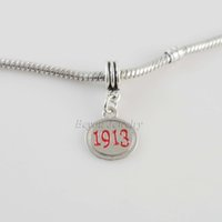 Wholesale Delta Charms - Wholesale-SORORITY GREEK Delta Sigma Theta DST enamel charm red 1913 charm 10pcs a lot
