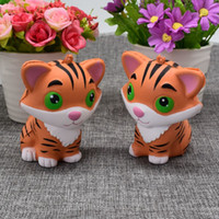 Wholesale New Soft Doll - 2017 New Arrivals 10CM Jumbo Animal Kawaii Squishy Tiger Doll Bread Squeeze Slow Rising Phone straps Soft Scented Cake Toys Gift