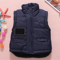 Wholesale Pink Girl Outerwear - Baby Vest Jacket Children Solid Winter Outerwear Coats Clothing Plus Cotton Warm Clothes for Boy Girl Thick Toddler Waistcoat