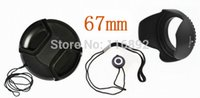 Wholesale 67mm Hood - Wholesale-67mm center pinch Snap-on cap cover +lens cap line+67mm lens hood for C N free shipping