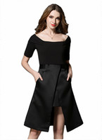 Wholesale Lady S Tuxedos - 2017 new spring collar ladies temperament strapless dress irregular skiny black tuxedo female