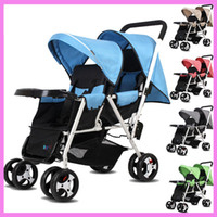 Wholesale Twin Babies Buggies - Portable Folding Twins Baby Stroller Lightweight Pram Two Babies Double Stroller Cart By Pushchair 1 M~4 Y