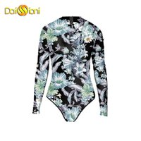 Wholesale American Flag Swim Suits - Sexy Swim Monokini USA American Flag Zipper Swimsuit One Piece Swimwear Long Sleeve Bathing Suits Women 1 Piece Swimming Suit