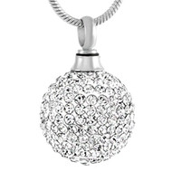 Wholesale Memory Charms - IJD8865 Clear Crystal Ball Stainless Steel Cremation Pendant Necklace Memory Funeral Ashes Keepsake Urn Necklace Jewelry