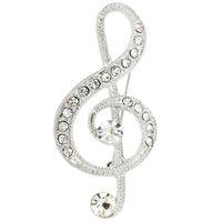 broches de notas musicales al por mayor-Broche con broche de plata para notas musicales