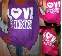 Wholesale Kawaii Love - 2017 new Fashion Autumn Long Sleeve round neck Pullovers Christmas Kawaii Tracksuit Love Pink Letters Printed Hoodies flannel Sweatshirt