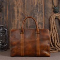 Handmade Mens Genuine Leather Classic Vegetable Tanned Leather Briefcase Business Bag