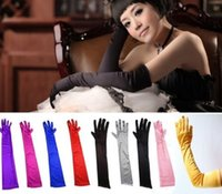 Wholesale Red Ribbon Costumes - Cheap Vintage Silk Satin Red Black White Bridal Gloves Long Fingers Bride Opera Above Elbow Wedding Accessoriesprom Evening Costume Gloves