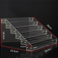 Wholesale Display Tier Wholesale - Wholesale- 1 Pcs 6 Tiers Removable Nail Polish Shelf Acrylic Clear Cosmetic Varnish Display Stand Rack Holder Women Makeup Organizer Case