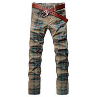 capris de color caqui al por mayor-Venta al por mayor-SHAN BAO marcas de pantalones vaqueros a cuadros de lujo de los hombres de alta calidad 2016 nueva caída pantalones rectos de color caqui 3101