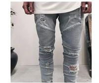 Wholesale size 38 mens jeans online - blue black mens slim straight Denim jeans Long Casual men jeans Size