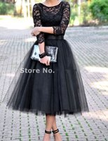 Wholesale Three Quarter Length Sleeve Plus - 2017 Cheap Three Quarter Bridesmaids Dresses Black Tulle Skirt Plus Size Bridal Shower Tea Length Party Dress Free Shipping