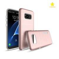 Wholesale Stripe Iphone - Phone Case for Phone 8 Plus iPhone X 7 Plus Samsung Caseology Stripe Armor Rugged PC Defender Protective Clear TPU Mobile Phone Cases