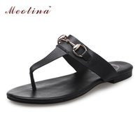 Wholesale Slipper Thongs - Wholesale-Ladies Summer Sandals Flip Flops Natural Genuine Leather Shoes Women Sandals Ladies Slippers Thong Shoes Slides Big Size 9 10