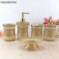 Wholesale Resin Dispenser - 5pcs  Set European Resin Bathroom Accessories Sets Bathroom Products Wash Gargle Tooth Mug Toothbrush Holder Dispenser Soap Dish