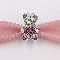 Wholesale Pink 925 Sterling Silver Beads - Authentic 925 Sterling Silver Beads Shelliemay With Pink Enamel Charms Fits European Pandora Style Jewelry Bracelets & Necklace 792130ENMX