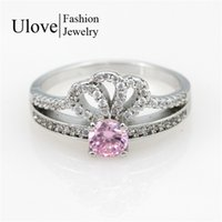 Wholesale Cheap Pink Engagement Rings - Fashion Cheap Wedding Engagement Rings Hot Sale Cubic Zirconia Zilveren Mothers ringen Pink Bague Femme Argent Y2735