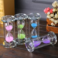 Wholesale Craft Glass Ornaments Wholesale - Fashion Time Sandglass Cylindrical Shape Crystal Glass Hourglass Four Colors Steady And Firm Craft Ornaments For Birthday Gift 17al B