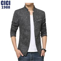 Wholesale casual blazers for men - Wholesale- 2016 Plus size korean style casual blazer for men slim fit male suit jacket high quality men's Stand collar Blazers 138