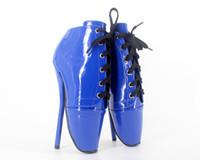 chaussures de ballet à lacets achat en gros de-2017 Mode Femmes BDSM Talons Hauts Pompes Bress Chaussures Lace Up 18 cm Nouvelles Dames Party Ballet Chaussures Pas Cher Modeste Plus La Taille Pompes