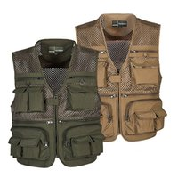 Wholesale Photography Works - Outdoor Fishing Vest Summer Hunting Vest Jackets Multi-pockets Professional Photography Working Wear Vest Men Waistcoats WM0158