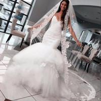 Wholesale Dress Wedding Aplique - 2017 Lace Aplique Spaghetti Tulle Mermaid Wedding Dresses boho Sheath Zipper White Exquisite plus size 2y empire waist Bridal Gowns dress