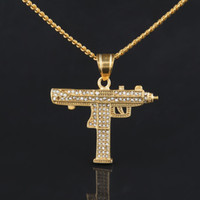 Wholesale Gold Guns - Hip Hop Gun Pendant Necklace 18K Gold Silver Plated Iced Out Cz Diamonds Charm Pendant Fine Quality Cuban Chain