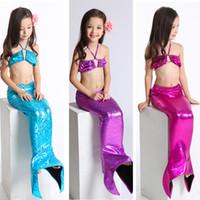 Wholesale Girls Sets Bikini Children - 3pcs Girls Kids Mermaid Tail Swimmable Bikini Set Swimwear Swimsuit Swim Costume Children Set HOT 0901241