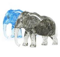 Wholesale Elephant Puzzle - Wholesale- New Arrival 3D Elephant Crystal Puzzle Animal Assembled Model DIY Educational Toys Kid's Gift Home Decoration