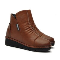 marrón cuña botas mujeres al por mayor-2018 Winter Women's Wedge Platform Botas cortas Brown y Black Round toe Altura creciente Botines con cremallera en 35-40