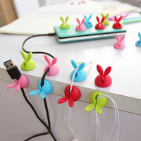 Wholesale Home Cable Storage - Silicone Rabbit Clip Winder 4 Colors Earphone Cable Storage Clips Desktop Wire Organizer Collation Home Storage Helper