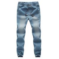 Wholesale Trend Boy S - Wholesale-Fashion Designs Mens Jeans Drawstring Washed Blue Slim Fit Denim Trousers Male Trend Boys Biker Jeans Pant Men Joggers Plus 5XL