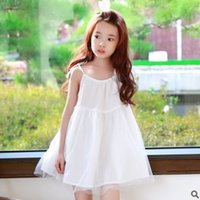 Wholesale Dress Girl Yarn Bowknot - Big Girls net yarn dresses 2017 summer new children gauze princess suspender dress Girls bowknot lace-up dress fashion kids clothes T1631
