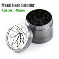 Wholesale Cheap Piece Grinders - Top Metal Herb Grinder 4 Piece Cheap Tobacco Grinders Magentic Designed Amsterdam with Pollen Catcher Scraper 40mm Grey Color Free Shipping