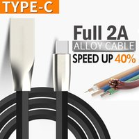 Wholesale Micro Current Wholesale - 2A Current 1M 24AWG Fast Charging Line Zinc Alloy USB Data Cable for Android smartphone Black